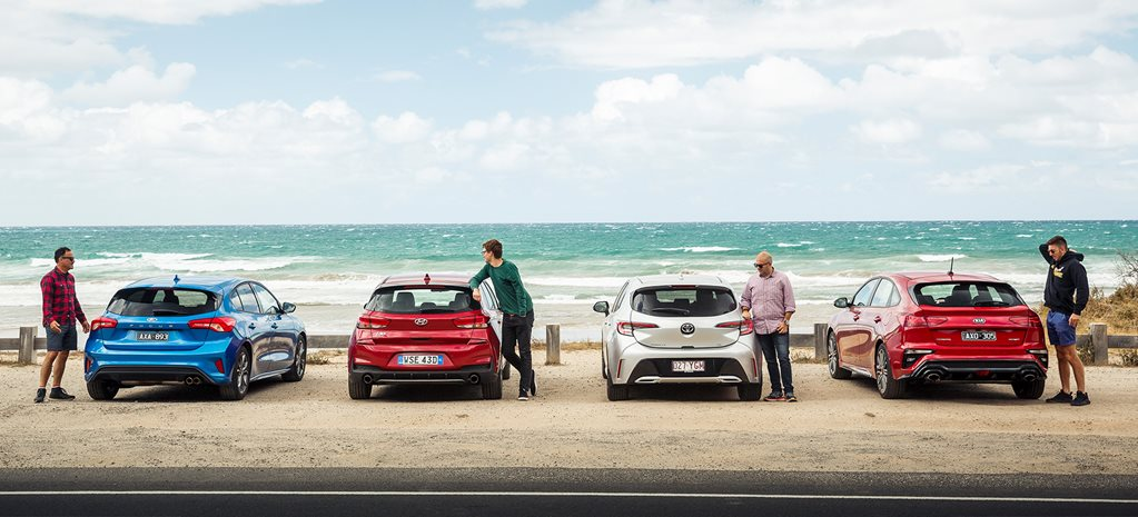 Kia Cerato GT vs Toyota Corolla ZR vs Hyundai i30 N Line vs Ford Focus ST-Line comparison review