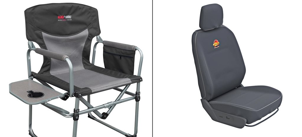 Terrain Tamer seat cover and BlackWolf Compact Directors Chair feature