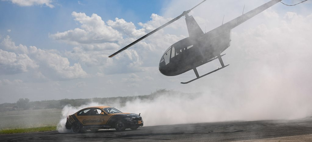 Continental helicopter car burnout lap