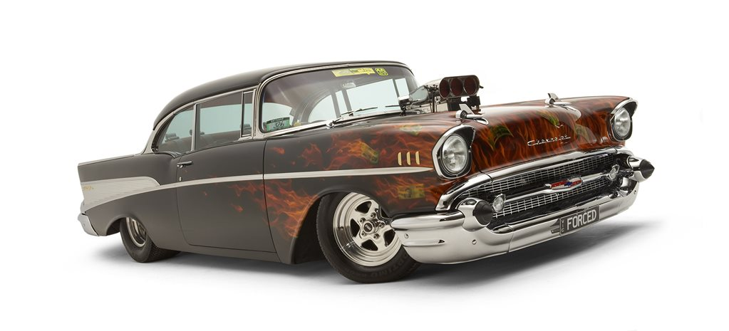 Blown, methanol 1957 Chevrolet pillarless coupe - flashback
