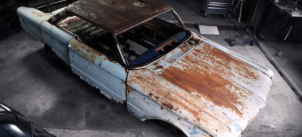 Rusty Ford XP Falcon coupe body swap onto an EL Falcon chassis