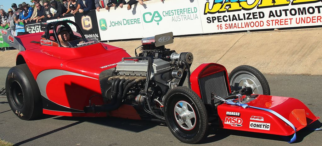 Blown, injected Barra-powered altered drag car