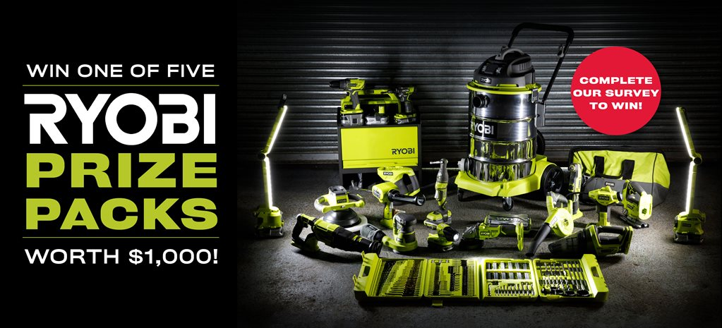 Tradie survey: Win one of five $1000 Ryobi prize packs