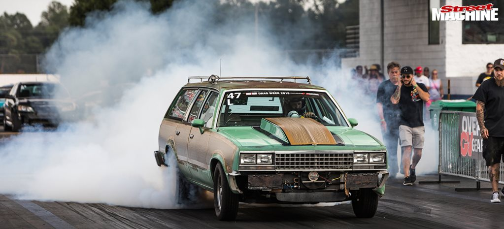 Corty Haig 1983 Malibu Wagon drag car burnout