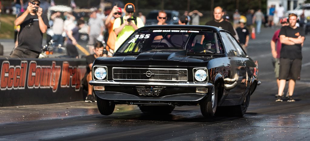 'Jawbreaker' Opel Ascona crashes at Hot Rod Drag Week