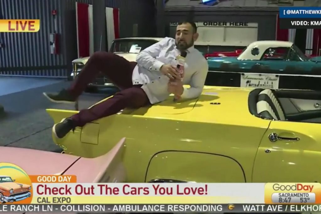 Reporter jumps on classic car