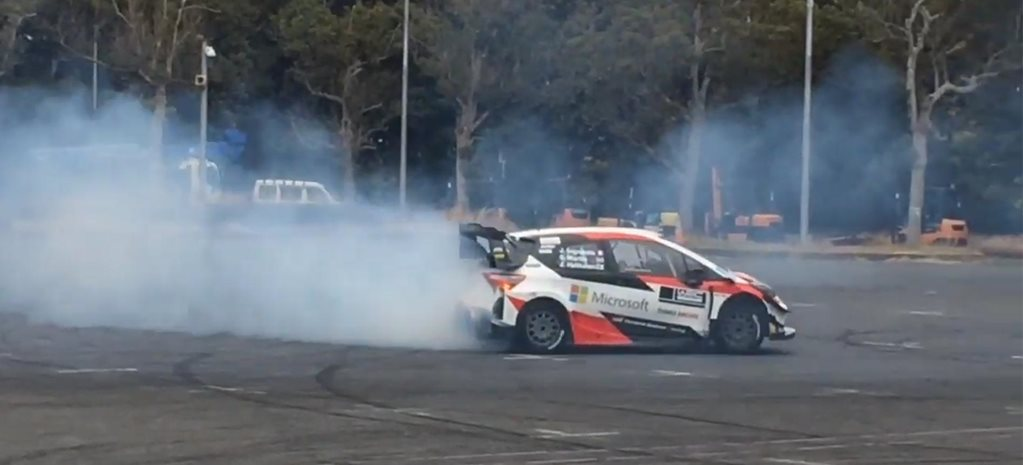 Toyota CEO drifts a Yaris WRC car