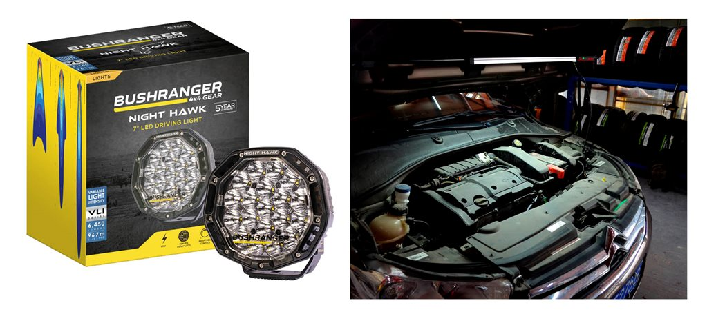 Wurth under-bonnet LED + Bushranger Nighthawk 7-inch LED