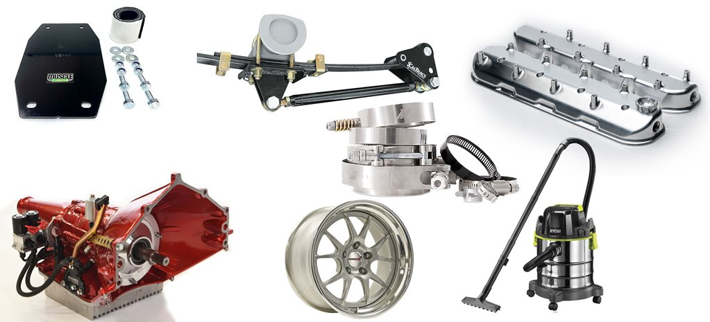 Street machine gear: shifter plate, traction bars, hose clamps and more