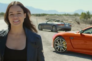 Michelle Rodriguez gets Fast & Furious in Jaguar F-Type at 323km/h