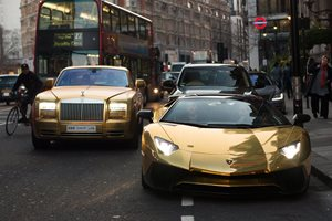 Gold supercars invade the streets of London