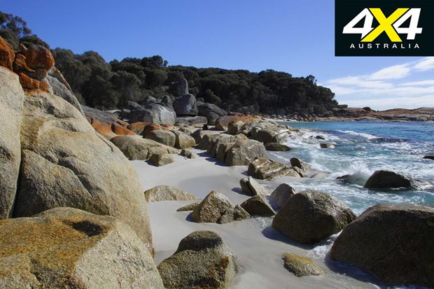 4x4 road trip to Bay of Fires Tas rocky beach