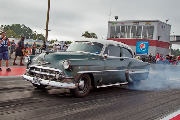 Scott Brown's 8-second '53 Chevy Bel Air at Drag Week - video