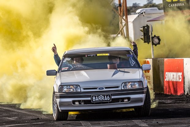 Barra-Powered XF Falcon Ute Wins Six Pot Burnout Title at Summernats 32...