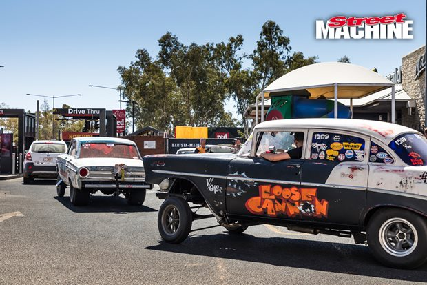 Cruising Alice Springs in the Funderbolt and Loose Cannon gassers