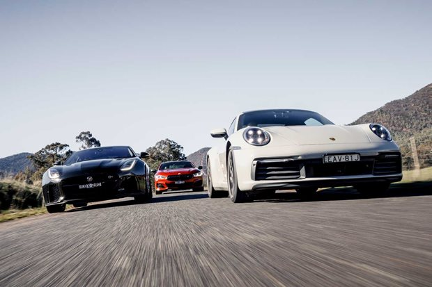 2019 BMW M850i vs Porsche 911 Carrera 4S vs Jaguar F-Type SVR comparison review
