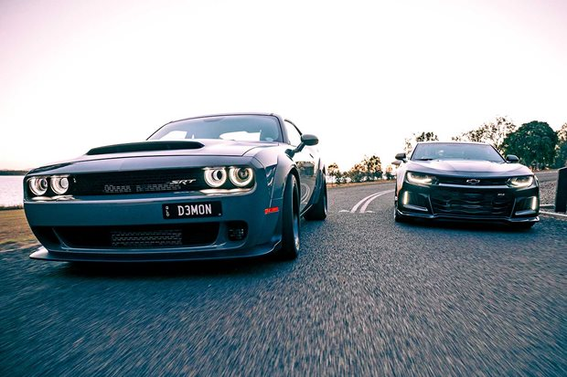 2019 Dodge Challenger Demon vs Hennessey Exorcist RHD comparison review