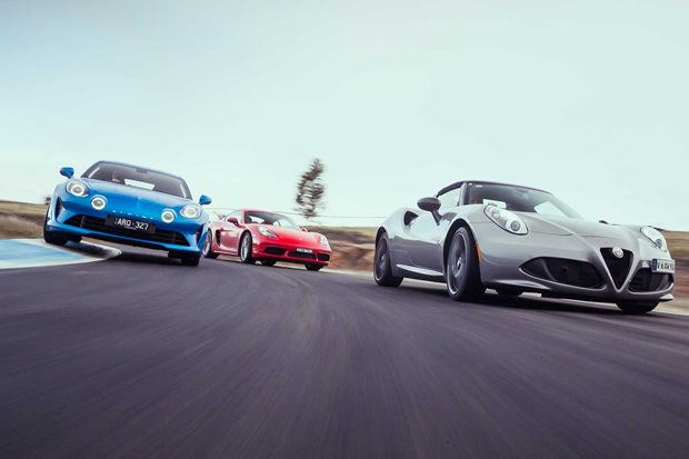 Alpine A110 vs Porsche 718 Cayman vs Alfa Romeo 4C Spider comparison review