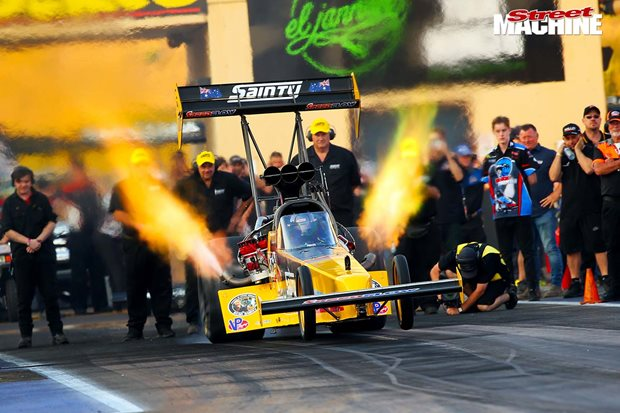 SAINTY TOP FUEL TEAM CRACK THE THREE-SECOND ZONE