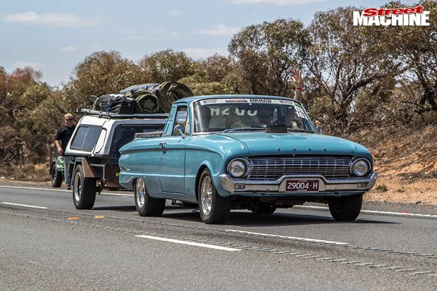 Bruce Howie's nitrous 1963 XL Falcon ute at Drag Challenge 2019