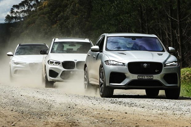 Jaguar F-Pace SVR vs BMW X3 M Competition vs Alfa Romeo Stelvio Q comparison