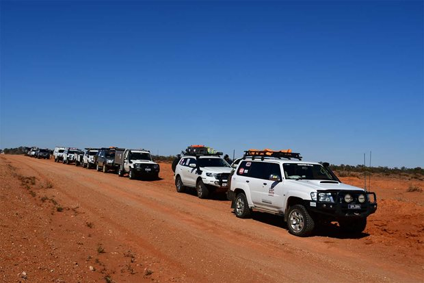 Convoy of vehicles attending the 2019 Drive 4 Life tour to the Flinders Ranges
