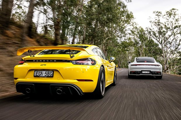 Porsche Cayman GT4 and 911 Carrera