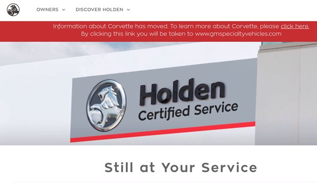The Holden website has no cars on it any more