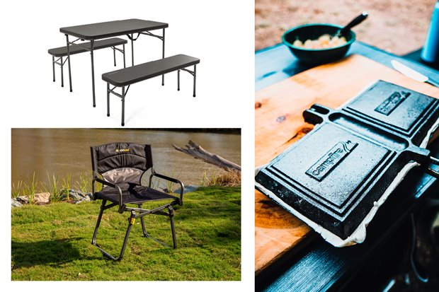 OzTrail Director's Chair + Oztrail Ironside tables + Campfire jaffle irons