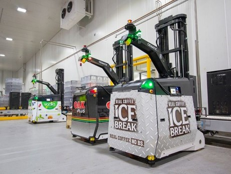 Three of the four AGVs installed at Lactalis' Lidcombe milk site in Sydney