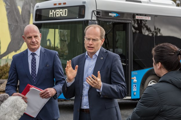 Hakan Agnevall, President Volvo Bus Corporation preseting at launch event.jpg