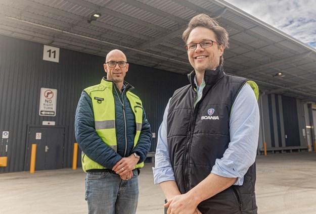 Ben Nicholson and Patrik Tharna at the new Scania Warehouse in Campbellfield.JPG