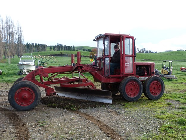 Nev Disher and his vintage Galion grader