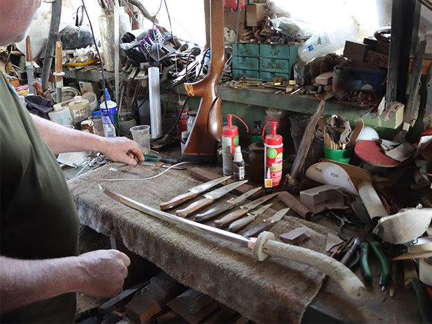 Steve can design a special knife for pig hunting or custom-made rifle stock