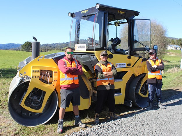 Crossroads Construction team members (left to right) Tyler Saunders, Andre Hurkmans, and Cody Fill on-site near Waimana