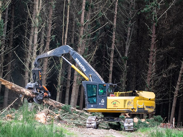 Jensen Logging operates around 45 forestry-related machines, including 17 Komatsu units