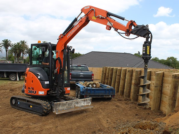 The Halo unit sits atop the drill attachment on the Hitachi Zaxis 38U mini excavator