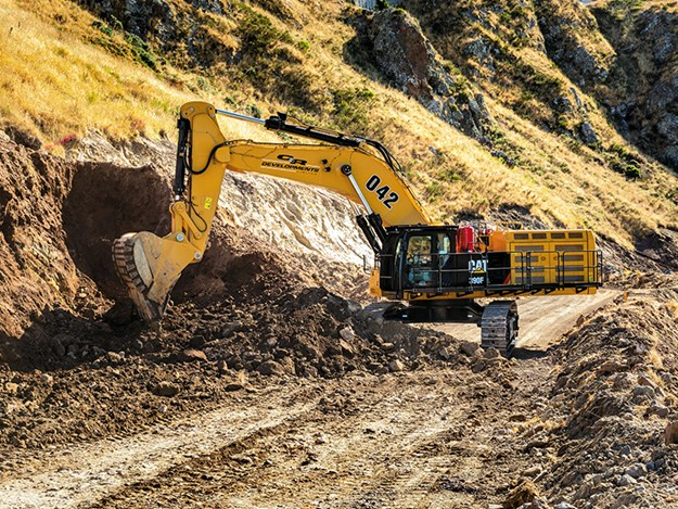 Cat 390F with a severe service six cubic metre rock bucket matched with Cat Advansys Penetration Plus tips