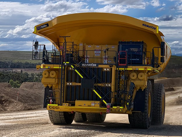 The Komatsu 930E-5 (cap <300 metric tonnes) is powered by a high-performance Cummins QSK60 dual-stage turbocharged engine rated at 2700hp via a fully solid state AC electric drive system