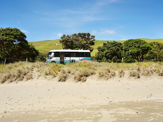 family-adventures-with-rosy-caravan-Chelsea-and-Bronson_s-first-Bus-parked-up-at-Port-Jackson-Coromandal.jpg