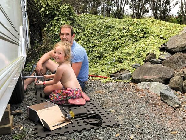Helping Dad change the drum brakes