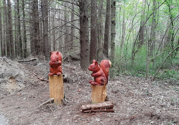 Cute squirrel sculptures on the Forest Amble Walk