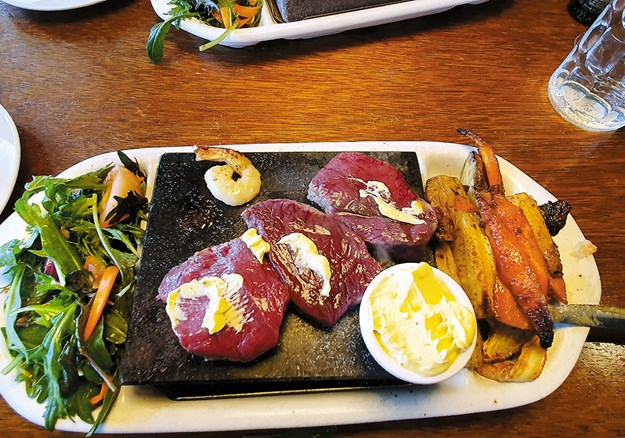 Stone grilled venison at Saints restaurant.jpg