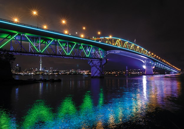 Auckland Harbour Bridge lit up at night
