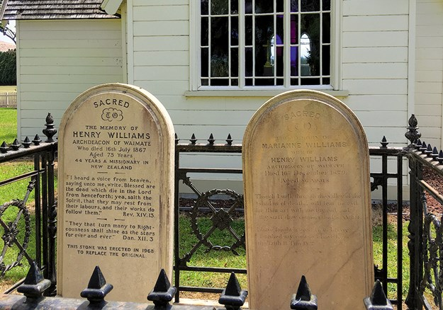 Gravestones of Reverend Henry Williams and his wife Marianne at the Holy Trinity church.jpg