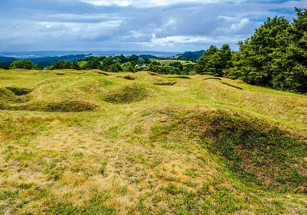 The impressive jumble of tunnels, trenches and mounds still pockmarks the battle site at Ruapekapeka.jpg