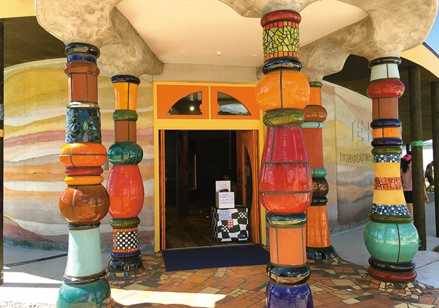 Brilliantly coloured bulbous columns mark the entrance_.jpg