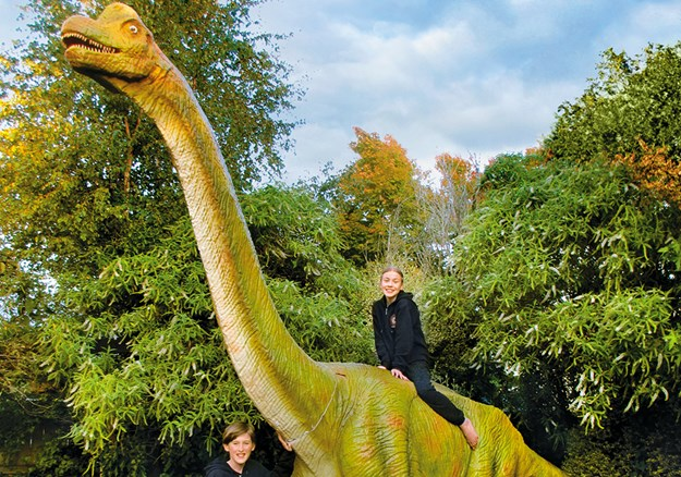Brachiosaurus at the end of its long journey is welcomed by Andrew and Hayley Moore