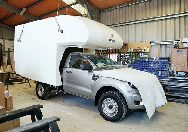 A single-piece motorhome shell meets the Ford Ranger 4WD at the Dairy Flat factory