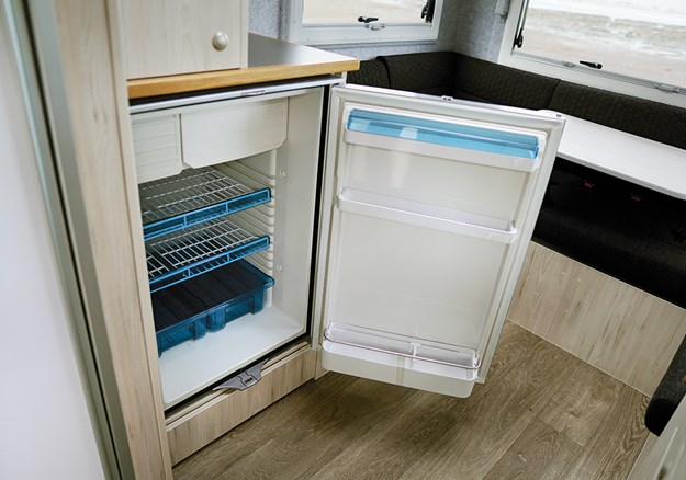The two-way fridge (12v/240v) offers 136L of space and a freezer